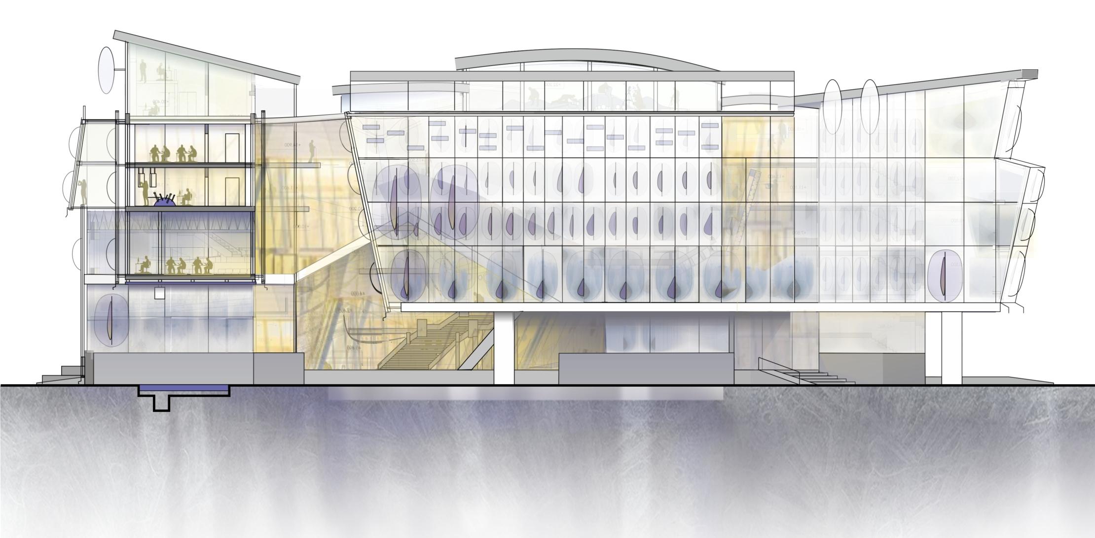 Фасад центра гидрологии Волги. Гидрологический кластер. Проект автора