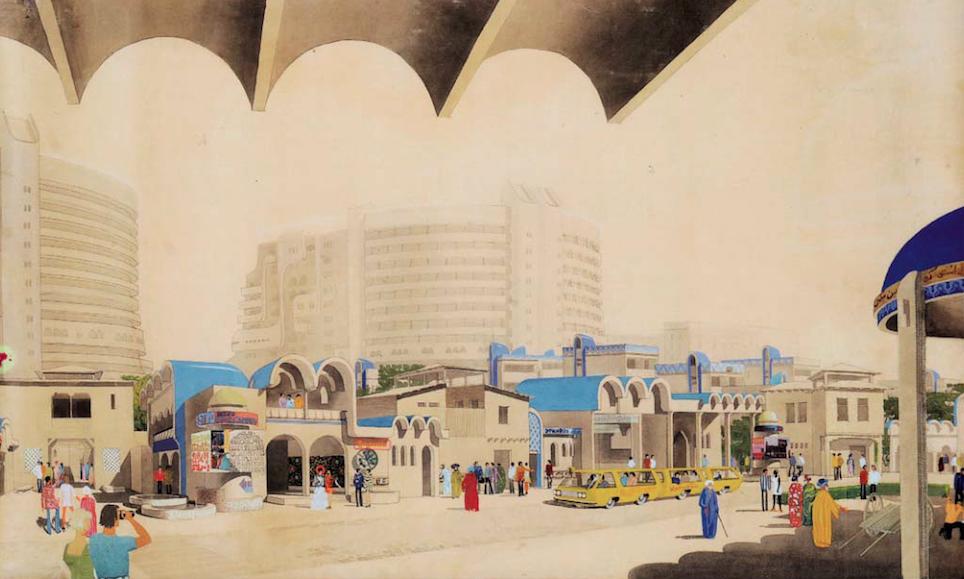 Проект микрорайона Кальакауз, Ташкент (1974-1978). Архитекторы: Андрей Косинский и Геннадий Коробовцев.