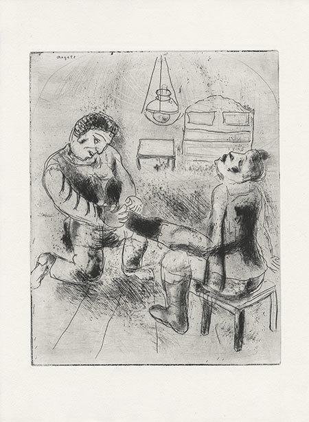 Петрушка снимает с Чичикова сапоги. Офорт Марка Шагала. 1923–1925 годы