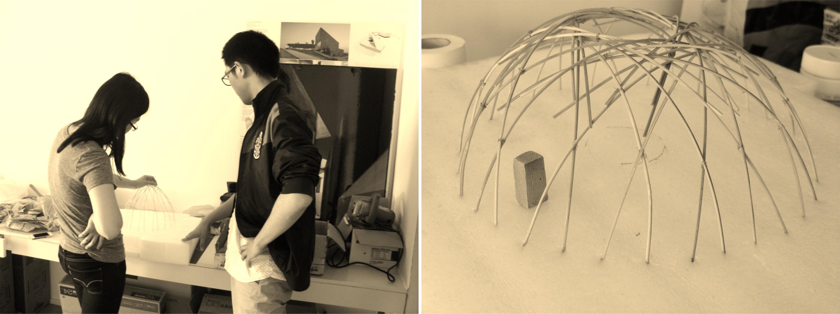 Офис DNA. Работа над бамбуковым павильоном в Songuang. Фото автора