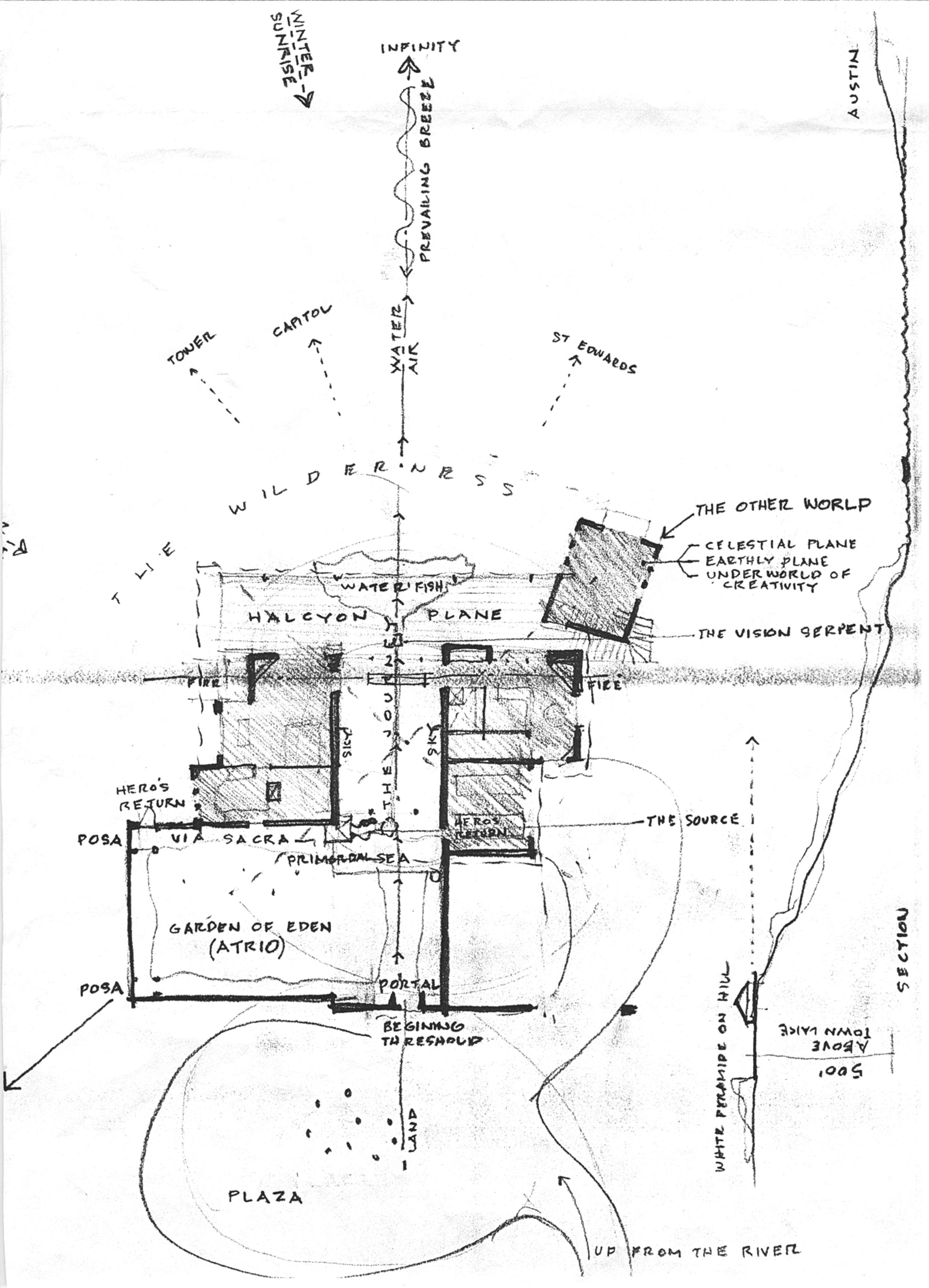 Нарисованный автором концептуальный эскиз Дома на Ноб-Хилл, показывающий рельеф, виды и программу. Остин, Техас, 1991