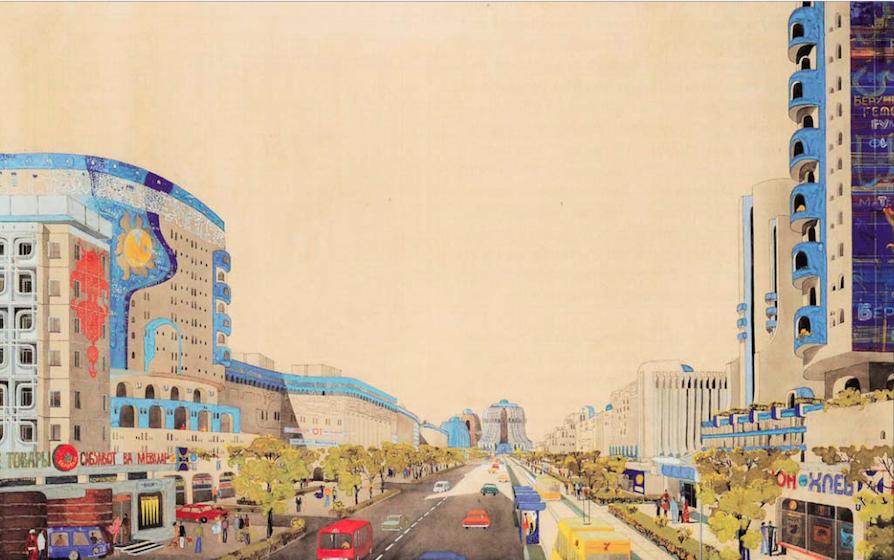 Проект улицы Беруни, Ташкент (1974-1978). Архитекторы: Андрей Косинский и Геннадий Коробовцев.