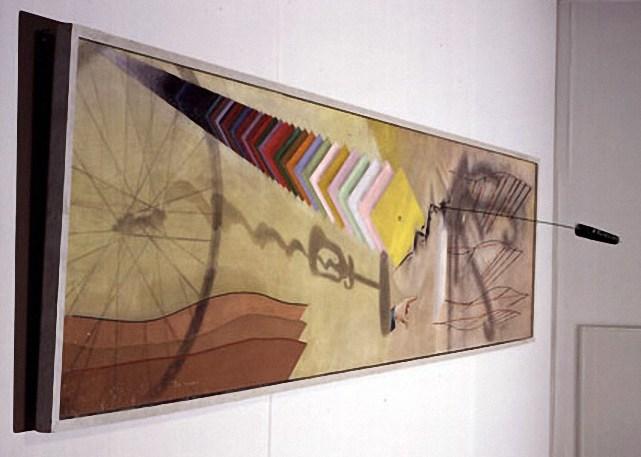 Марсель Дюшан. Ты меня. 1918, масло и карандаш, холст с ершом, три булавки и гайка, 69,8 x 313 см, наследие Катерины С. Д