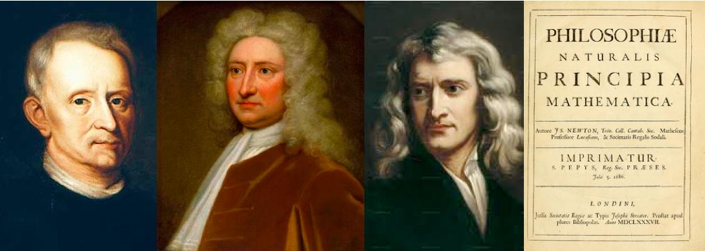 Роберт Гук, Эдмунд Галлей, Исаак Ньютон и труд Ньютона Philosophiæ Naturalis Principia Mathematica.