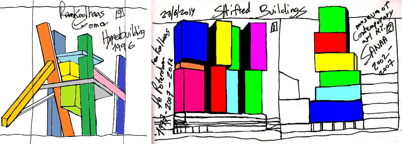 Eliinbar's Sketchbook 2012-14 ,Rem Koolhaas (The Hyperbuilding) and SANAA Typology of a Shifted Buildings