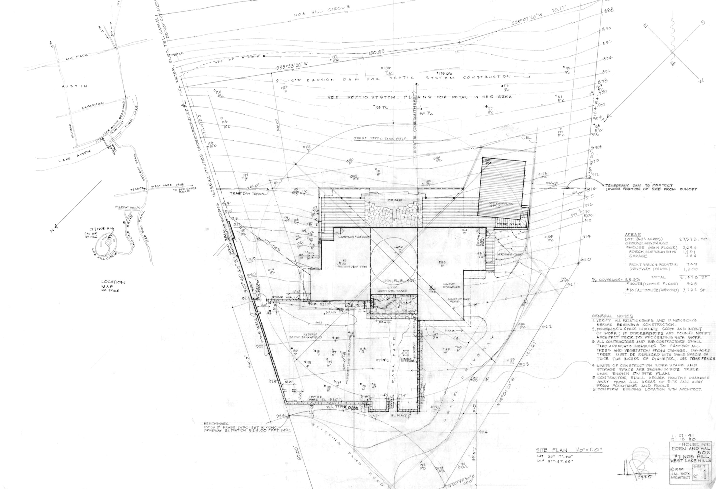 Генеральный план дома на Ноб-Хилл, выполненный автором. Остин, Техас, 1992
